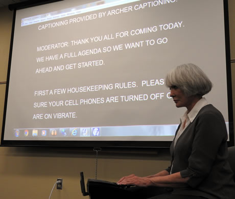 Archer Captioning providing captions at an Hearing Loss Association of Oregon meeting